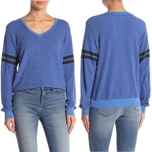 Wildfox Varsity Striped Sleeves Sweatshirt